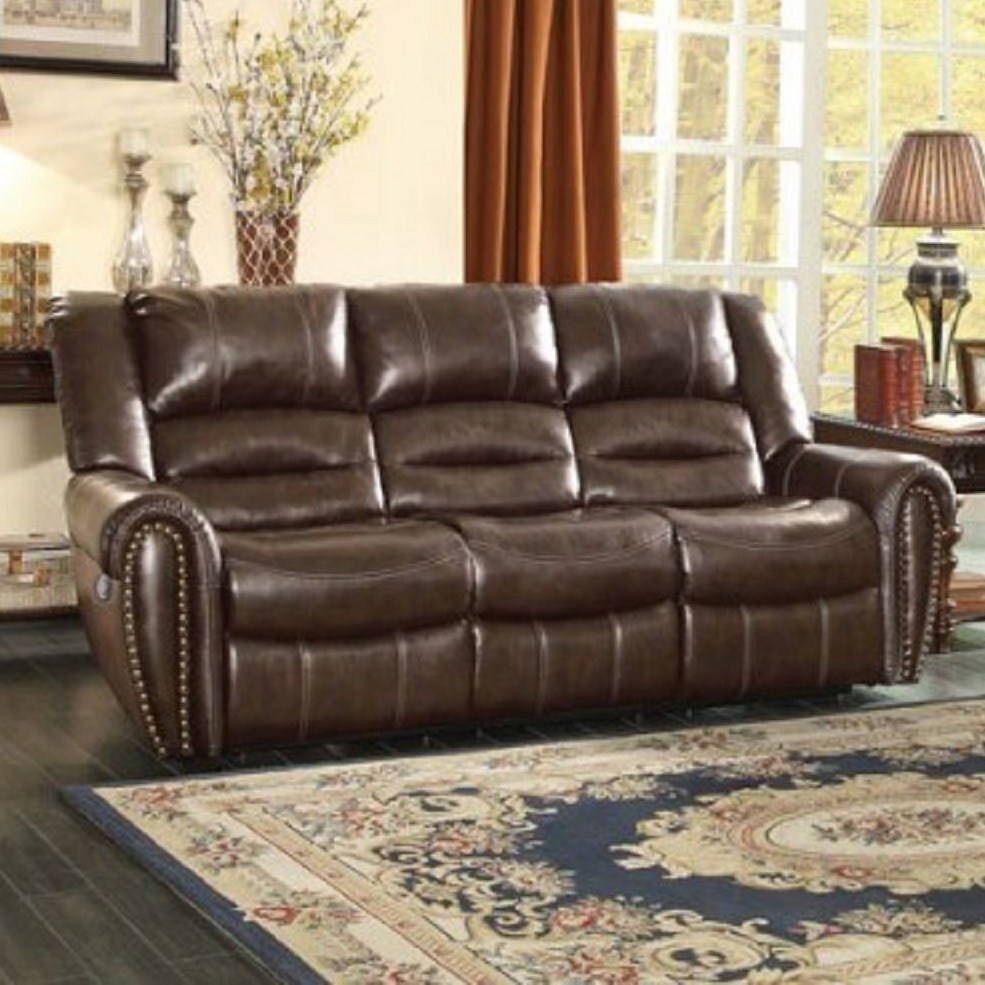 reclining sofa with nailhead trim leather repair austin tx homelegance center hill traditional power by