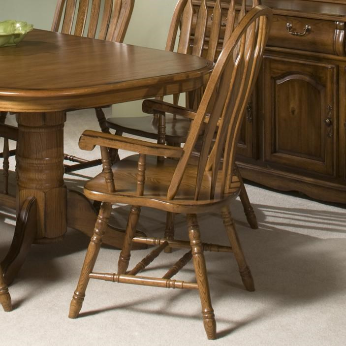 Intercon Classic Oak Turned Leg Curved Arrow Back Dining Arm Chair Wayside Furniture Dining Arm Chairs