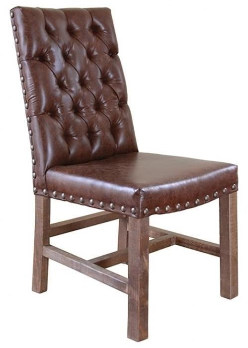 Parota Faux Leather Chair With Tufted Back