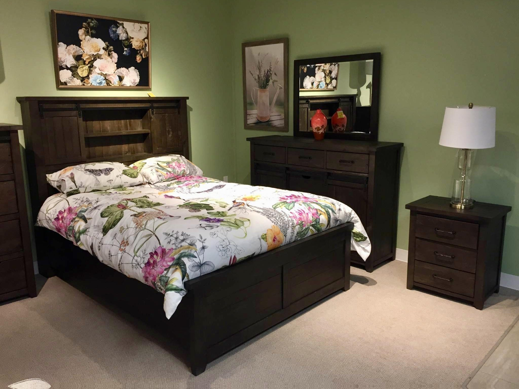 madison county solid wood queen bedroom with barn door headboard at bennett s furniture and mattresses