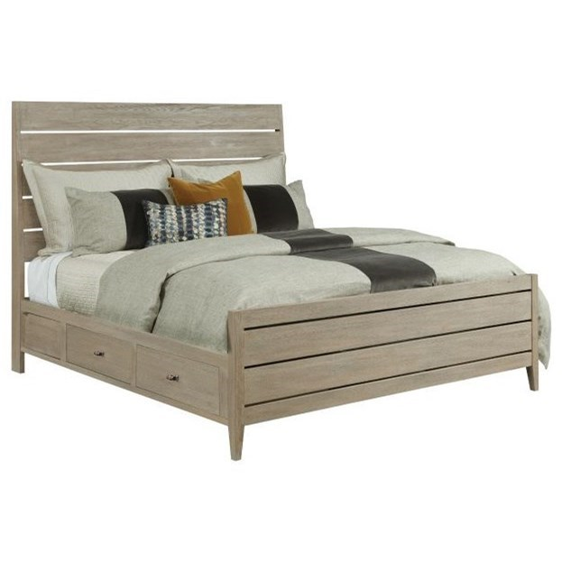 Kincaid Furniture Symmetry Contemporary Incline Solid Wood Oak King Platform Bed With Storage Rails Wayside Furniture Platform Beds Low Profile Beds