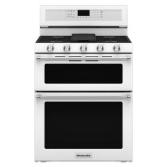 Kitchen Aid Gas Stove Bistro Table Kitchenaid Kfgd500ewh30 Inch 5 Burner Double Oven Convection Ranges30