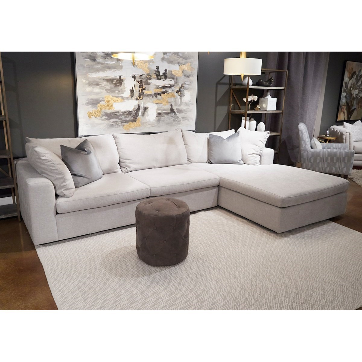 arnell 3 seat sectional sofa w raf chaise