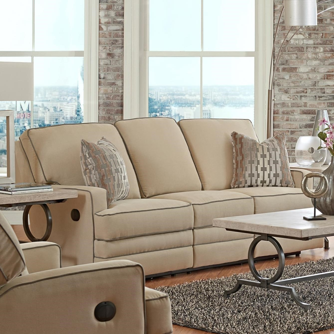 klaussner grand power reclining sofa slipcovers for and loveseat chapman casual with throw pillows