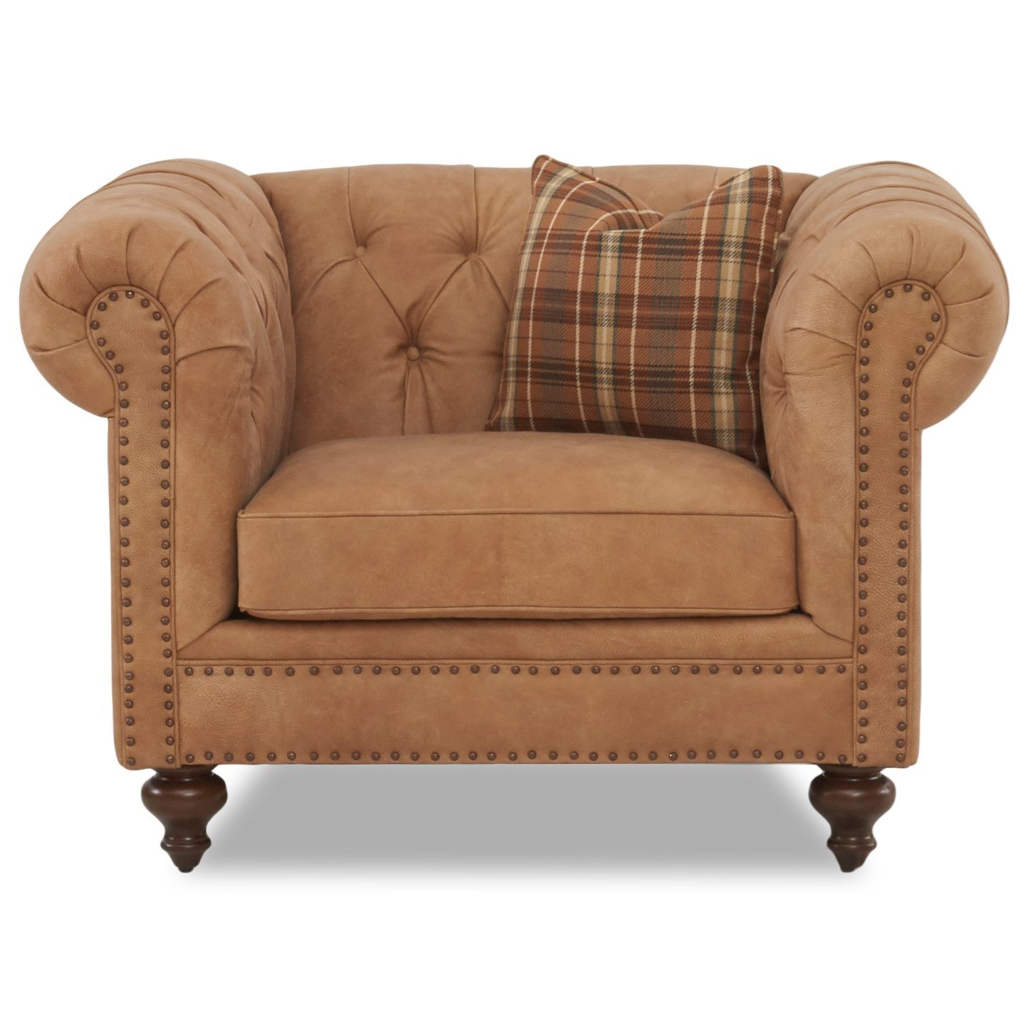 tufted nailhead chair patterned recliner chairs elliston place charlotte traditional and 1 2 with nailheads by