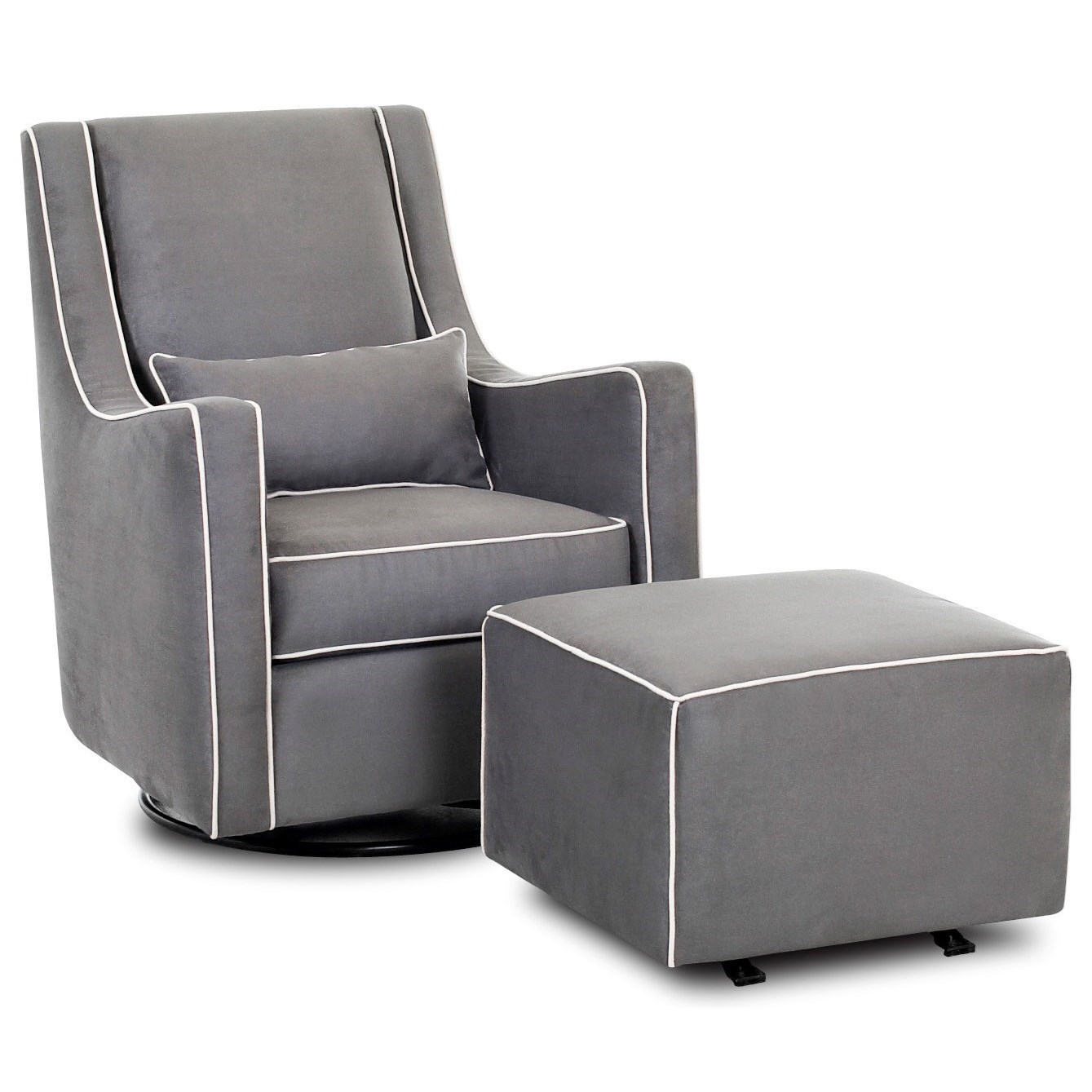 Gliding Chair Chairs And Accents Contemporary Lacey Swivel Glider Chair And Ottoman Set By Klaussner At Miller Home