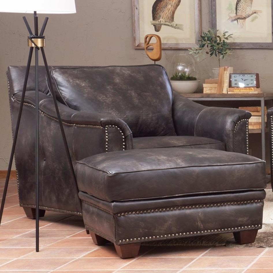 Leather Chair And Ottoman Elliston Place Wilkesboro Leather Chair And Ottoman Set Morris