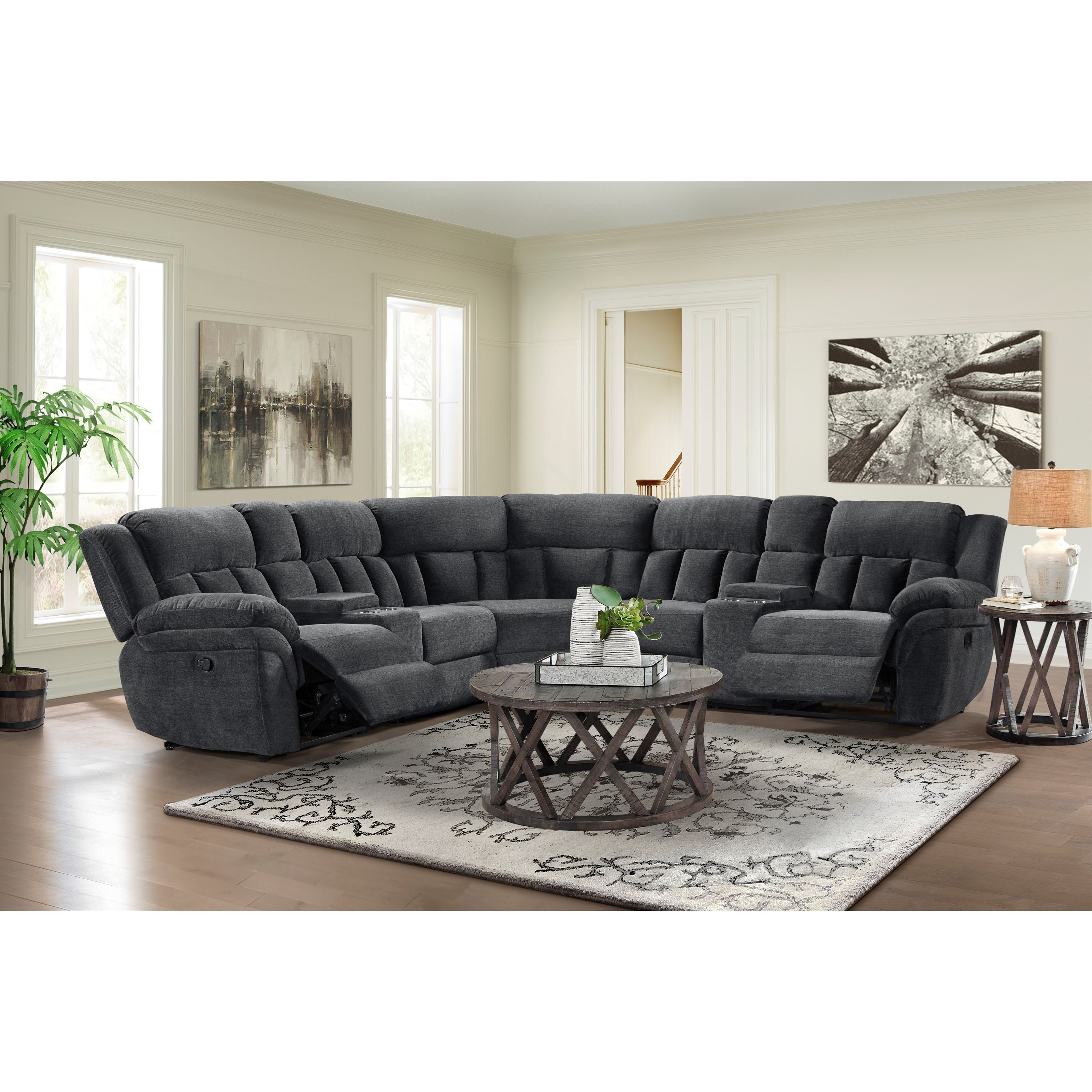 mccobb 4 seat reclining sectional sofa