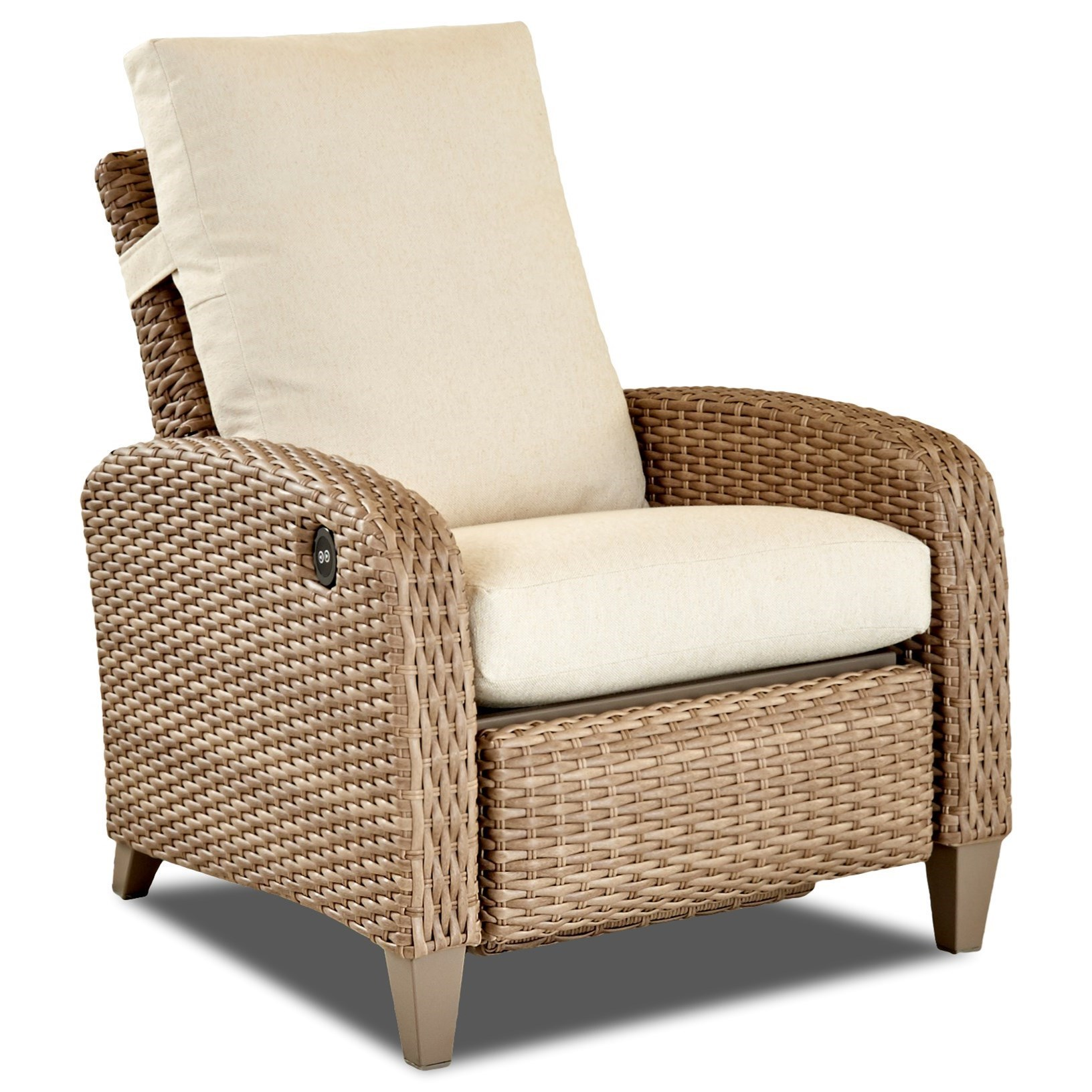 wicker recliner chair leather work klaussner outdoor tidepointe w5611 phrdr power motion high tidepointepower leg w drainable cushion