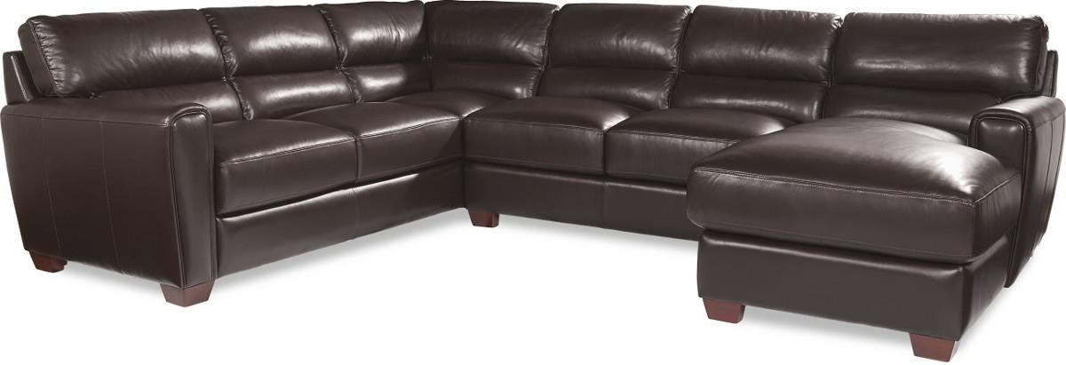 where to donate sectional sofa crochet arm covers la z boy brody three piece contemporary leather with raf chaise