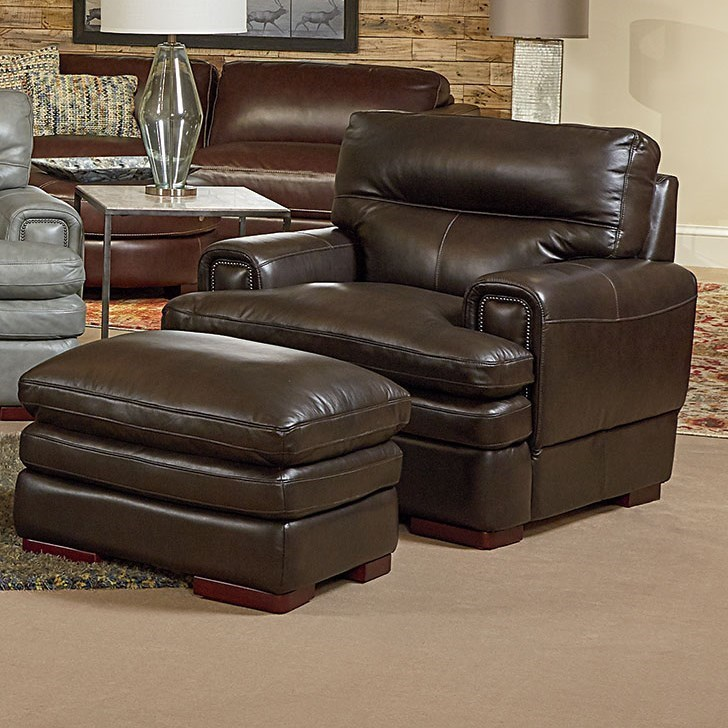 Leather Chair And Ottoman La Z Boy Jake Casual Chair And Ottoman Conlin S Furniture