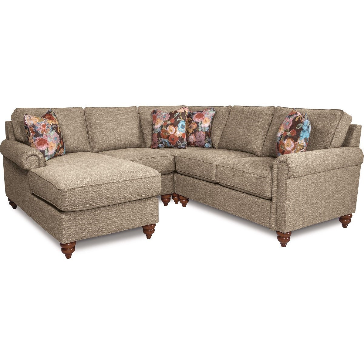 sofa w chaise corner bed black leather la z boy leighton traditional four piece sectional with right arm sitting