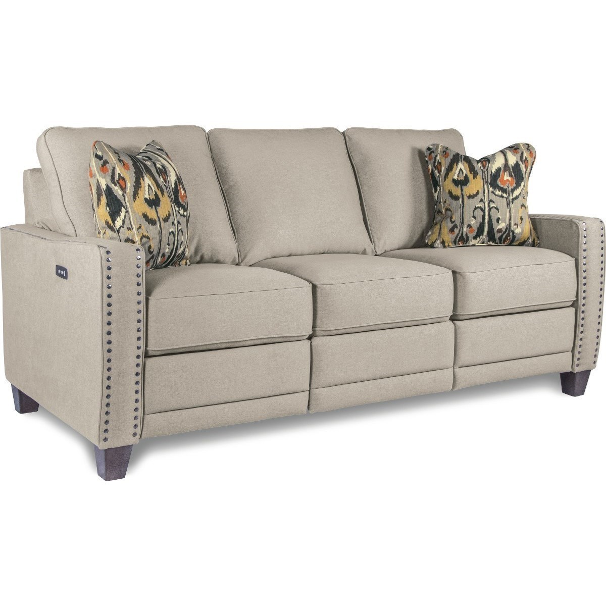 reclining sofa with nailhead trim custom sectional canada la z boy makenna duo power usb charging ports makennaduo shown optional nailheads