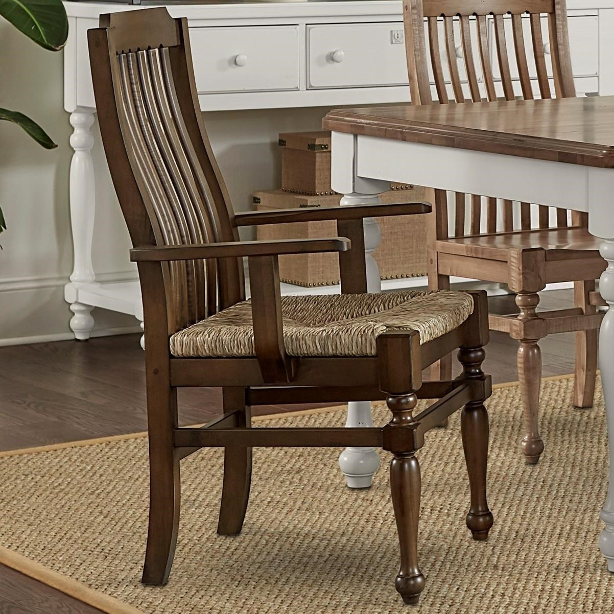 Seagrass Dining Chair Laurel Mercantile Co Scotsman Rustic Solid Wood Seagrass Seat Arm