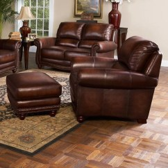 Leather Chair Ottoman Set Office Without Back Italia Usa James Traditional And With Nailhead Trim