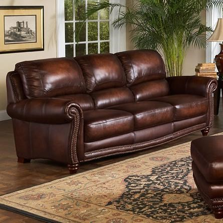 leather italia sofa furniture chesterfield set usa james traditional with rolled arms and nailhead trim