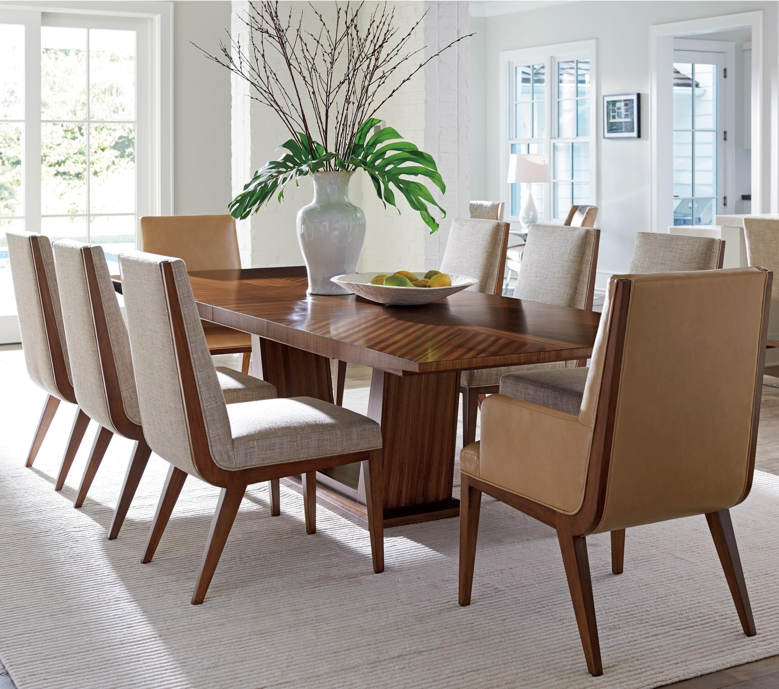 lexington dining chairs poker card table and set kitano nine piece with caldera wayside