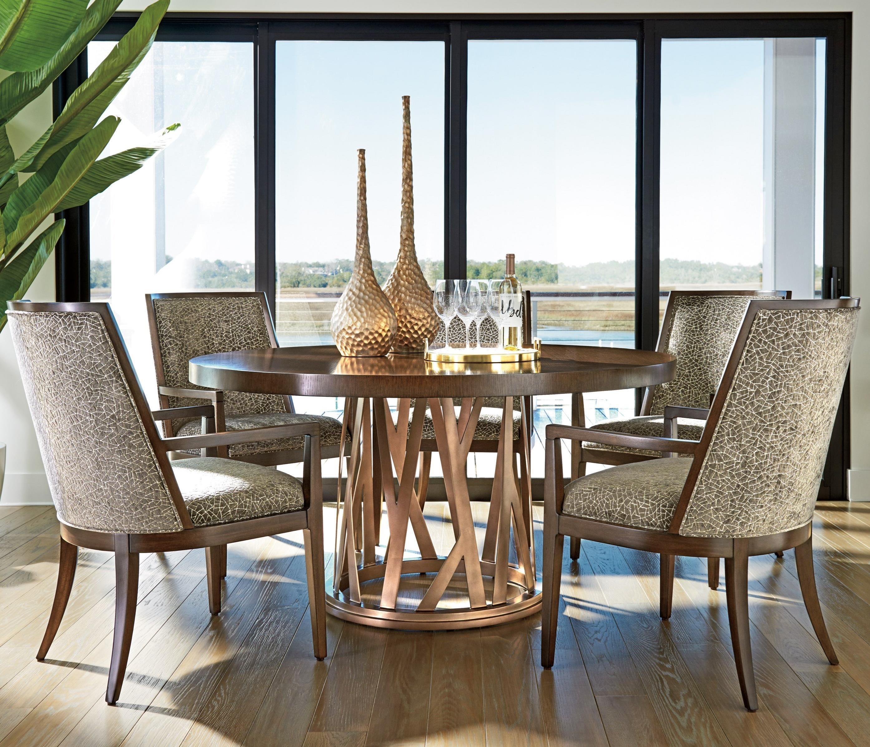 lexington dining chairs leather desk zavala six piece set with horizon round table zavala6 pc