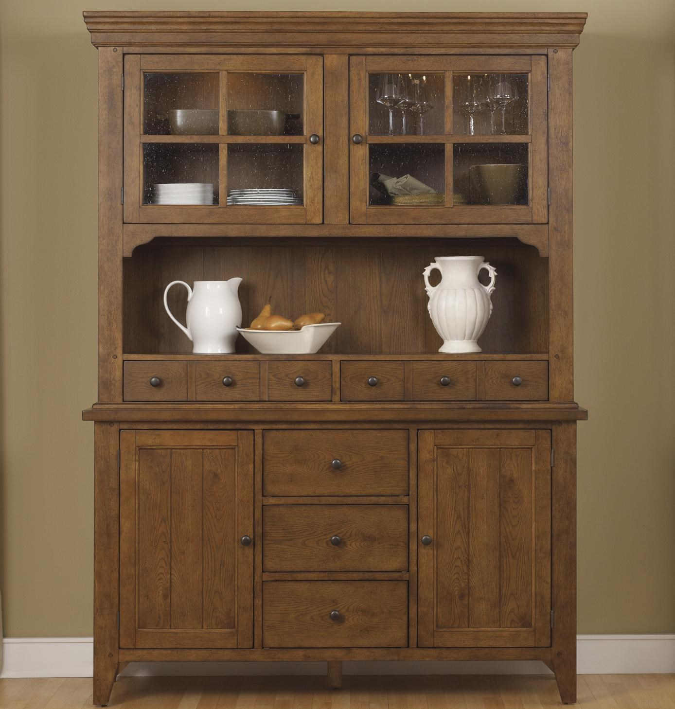 Liberty Furniture Hearthstone Mission Style Buffet with China Hutch  Godby Home Furnishings