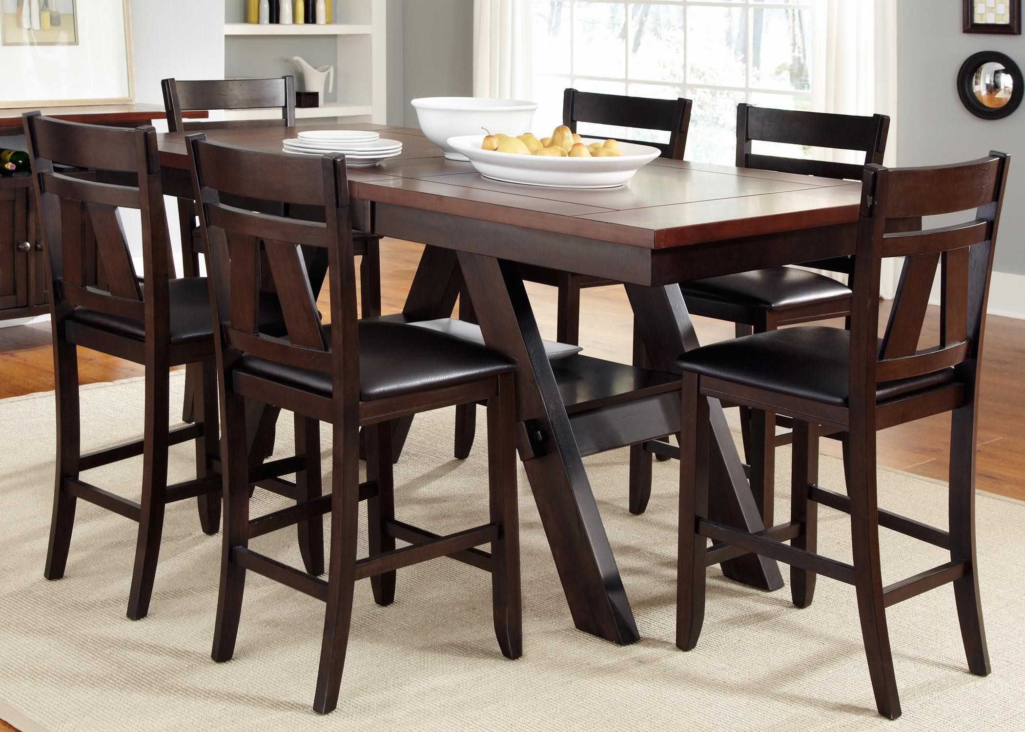 Counter Height Chairs With Arms Lawson 7 Piece Trestle Gathering Table With Counter Height Chairs Set By Vendor 5349 At Becker Furniture World
