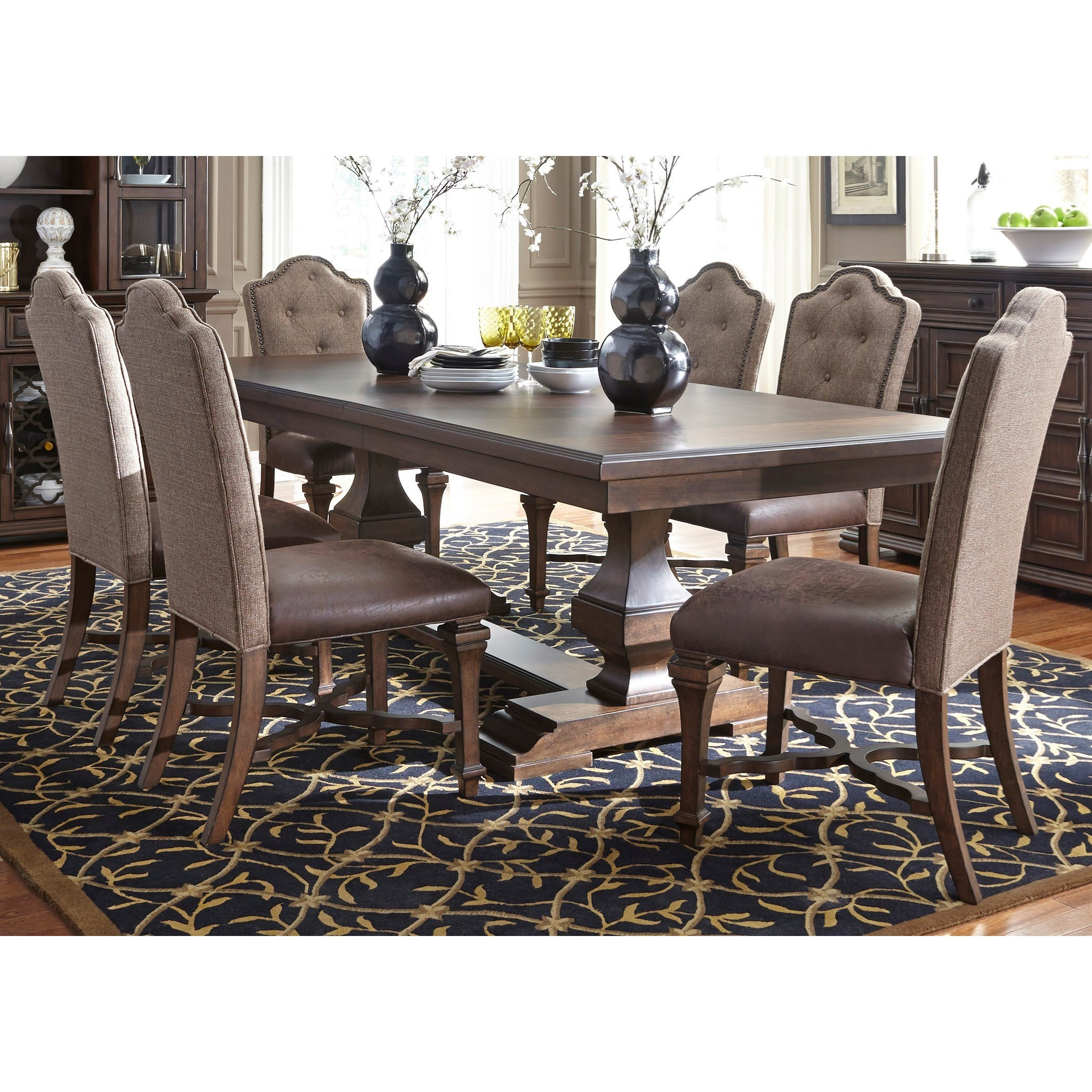 upholstered chairs for dining room bedroom sofa chair liberty furniture lucca formal 7 piece two pedestal table and lucca7 set