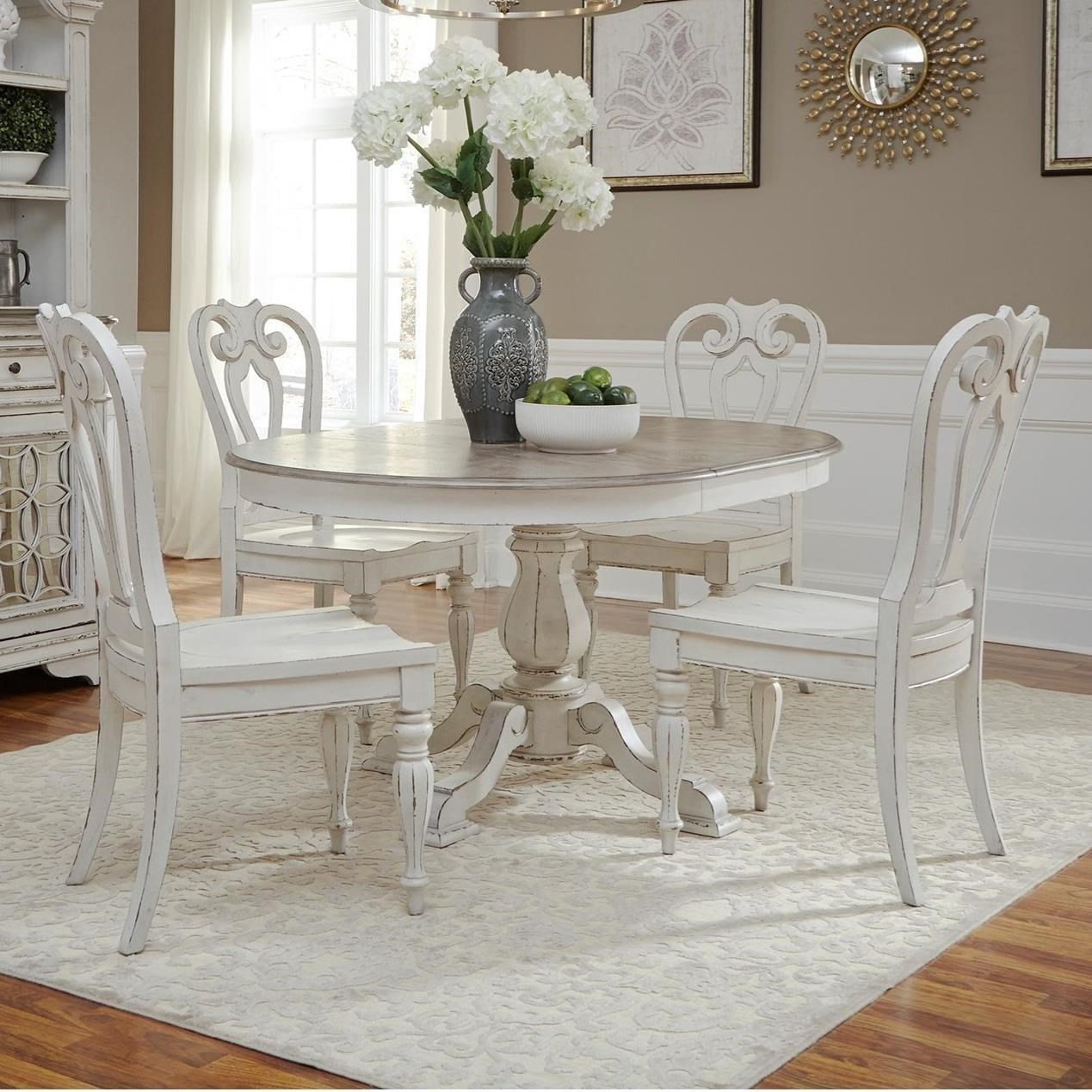 dining table set 6 chairs wheelchair guy that died liberty furniture magnolia manor libe grp 244 ovaltbl oval pedestal and six side