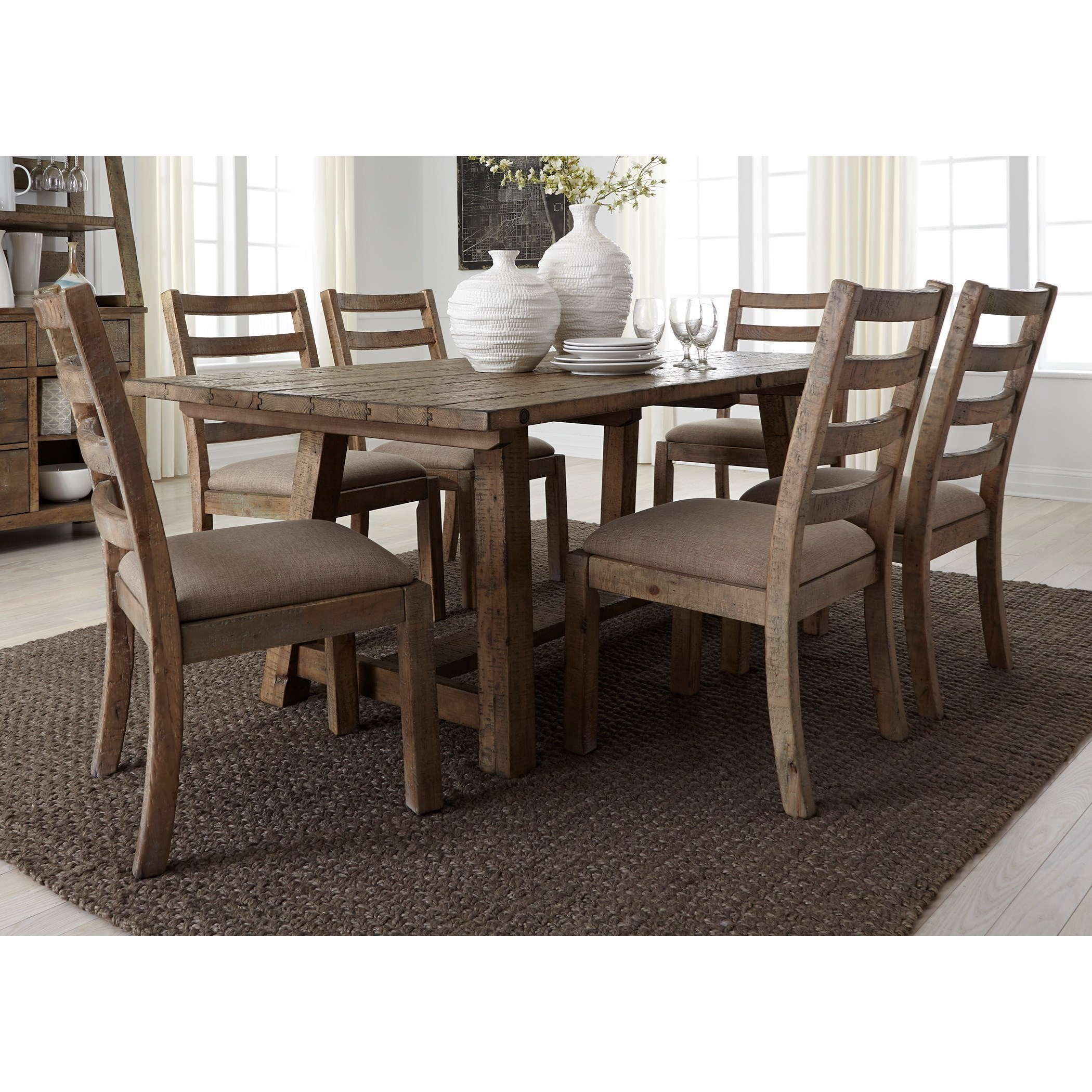 liberty dining chairs the ugly chair tupelo ms hours furniture prescott valley rustic 7 piece 77 trestle table set