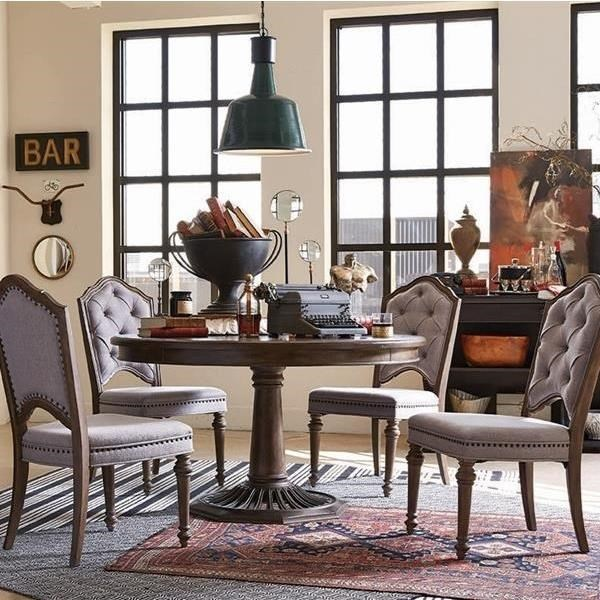 side chairs with arms for living room ideas on arranging furniture magnussen home jefferson market traditional dining set round table and four upholstered