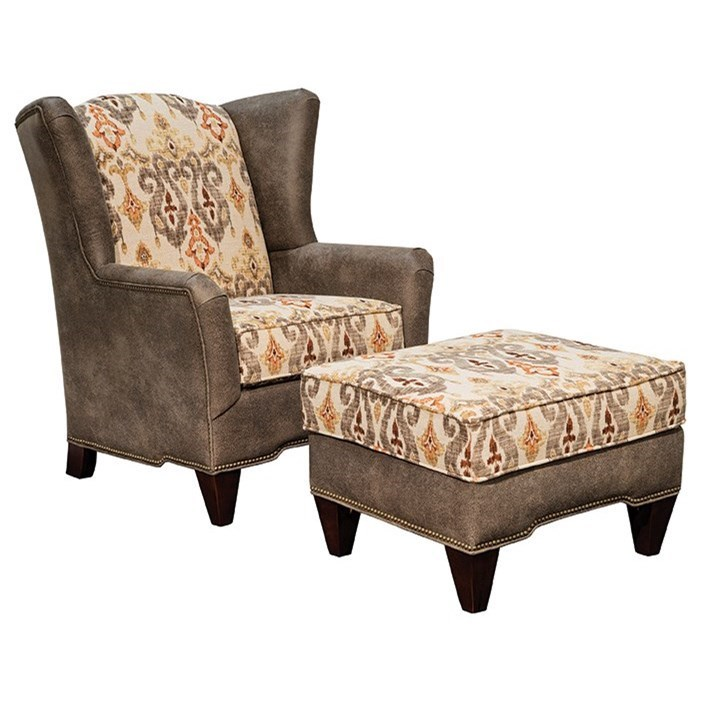 upholstered chair with nailhead trim bistro style tables and chairs marshfield preston transitional ottoman