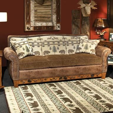 sofa sleeper for cabin black tufted leather marshfield woodland rustic with queen conlin s