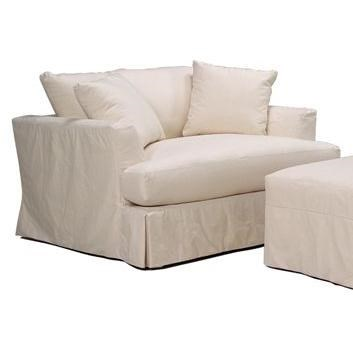slipcover for chair and a half church banquet chairs bemodern cloud comfortable with casual pleated skirt