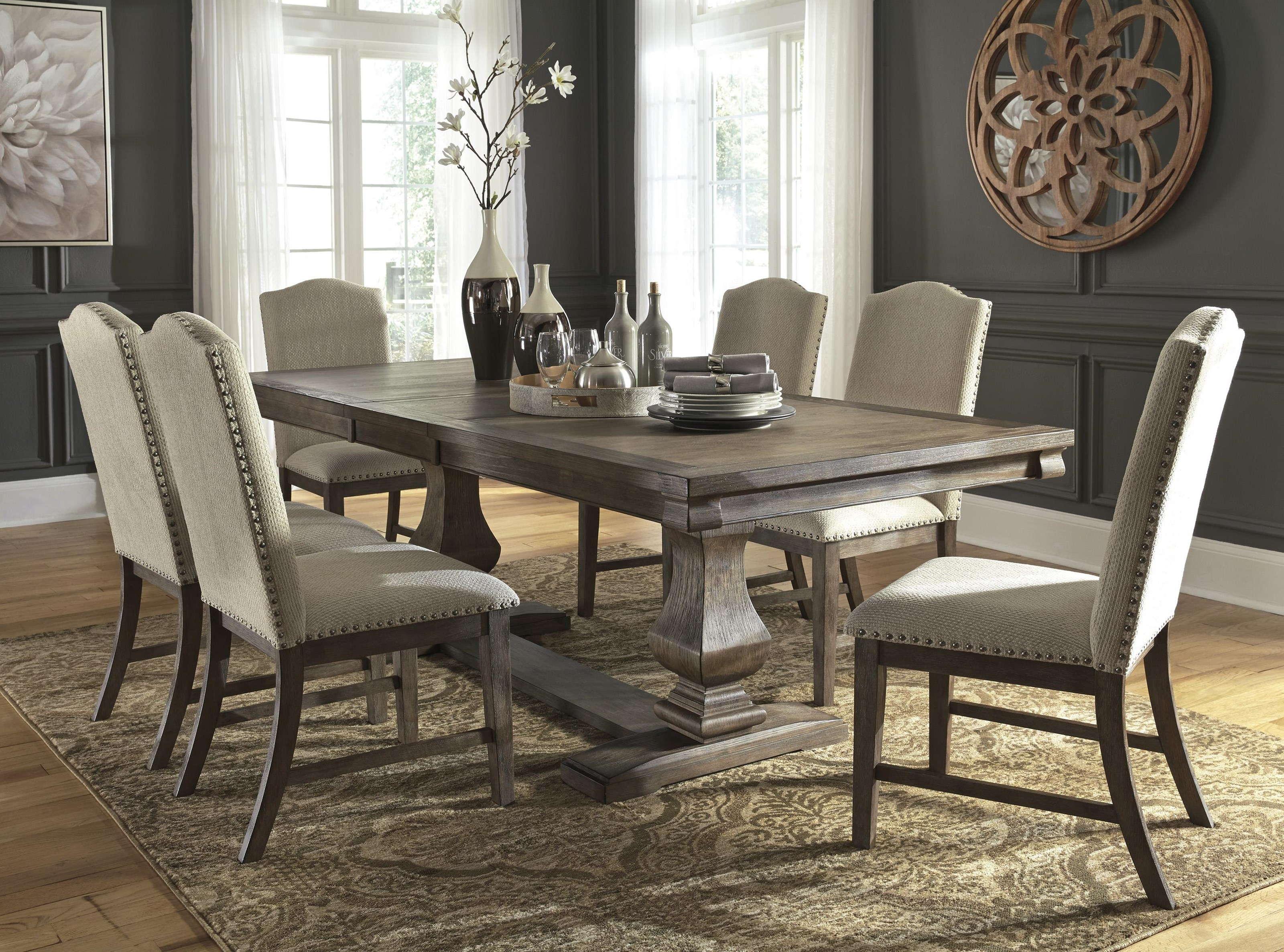 Millennium Johnelle D776 55t 55b 6x01 60 8 Pc Dining Room Ext Table 6 Uph Chairs And Server Set Sam Levitz Furniture Dining 7 Or More Piece Sets