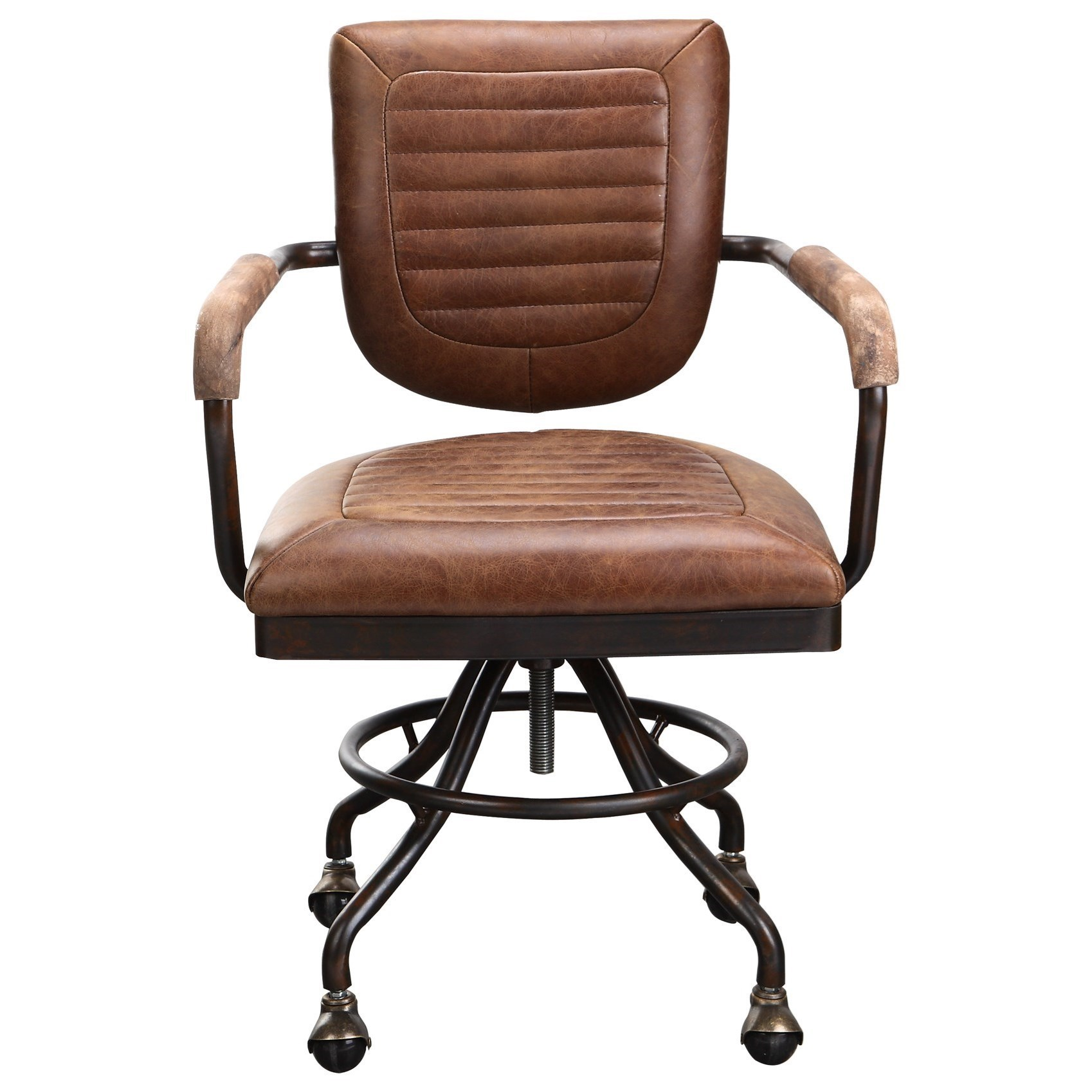 Home Office Desk Chairs Foster Industrial Leather Desk Chair By Moe S Home Collection At Stoney Creek Furniture