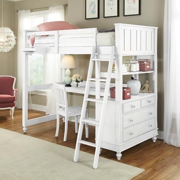lake house full loft bed with desk