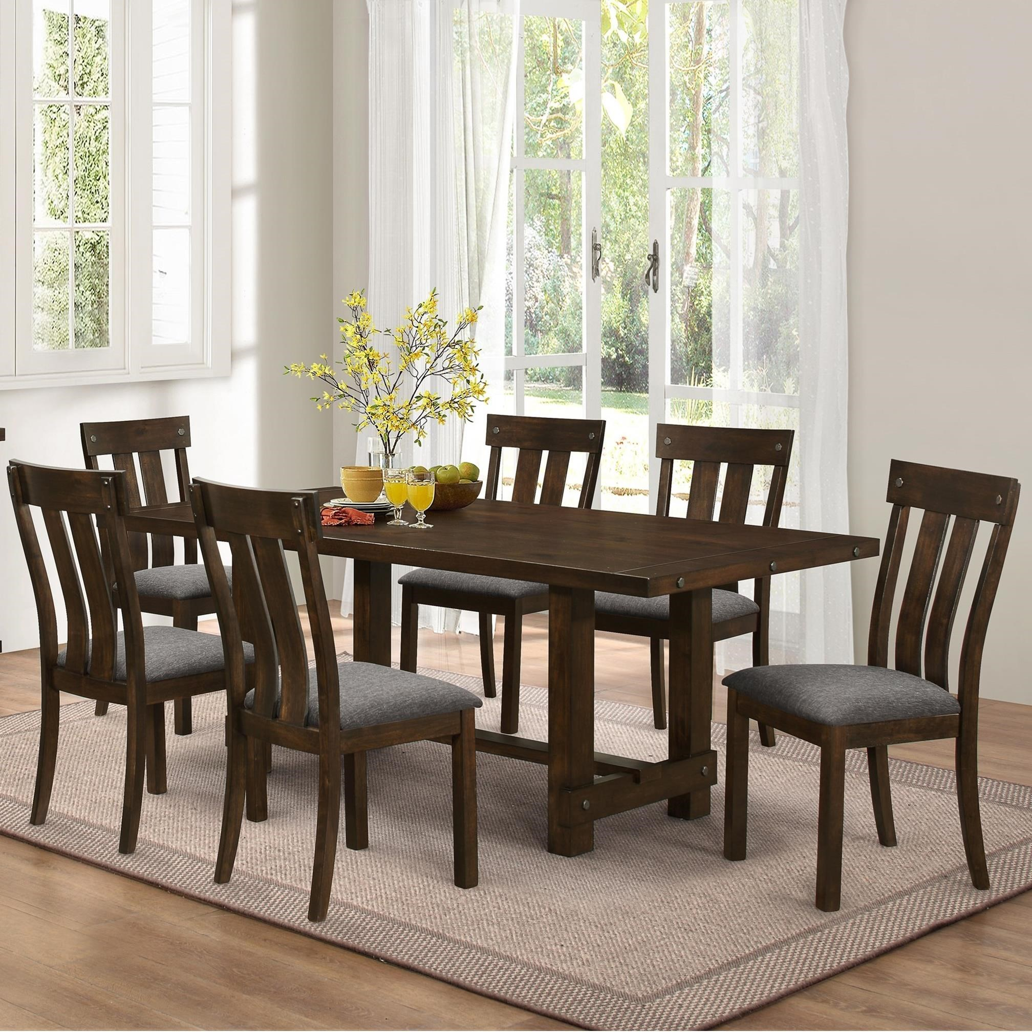 10 chair dining table set orthopedic high seat for the elderly new classic frisco 7 piece trestle with slat back side frisco7
