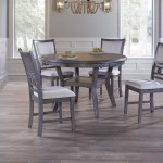 New Classic Gia Gray D1701 50s Gry Dining Table And Chair Set With 4 Chairs And Circle Motif Sam Levitz Furniture Dining 5 Piece Sets