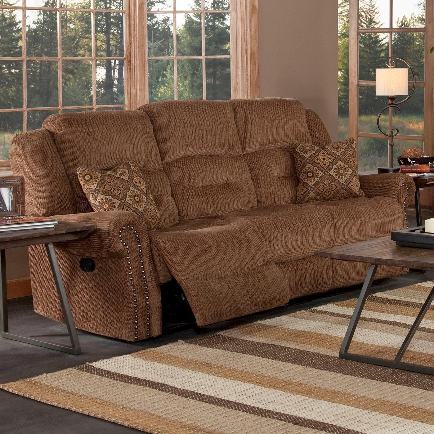 reclining sofa with nailhead trim standard set size new classic jasper power boulevard home furnishings sofas