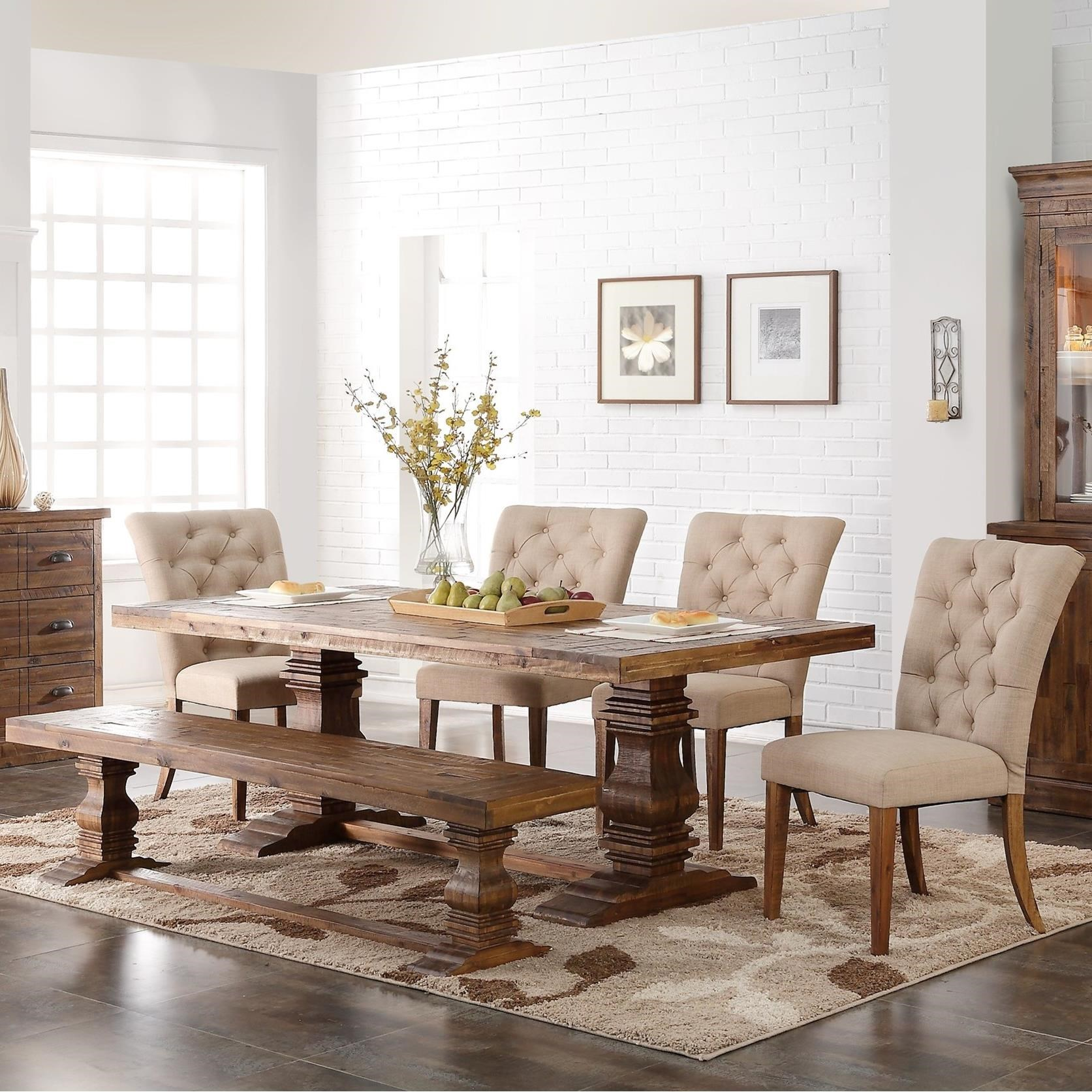 6 piece living room set cheap accessories new classic normandy double pedestal table and upholstered chair with bench by