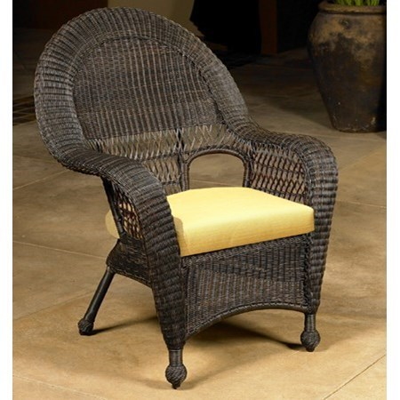 Outdoor Wicker Dining Chairs Charleston Wicker Dining Arm Chair With Cushion By Chicago Wicker At Becker Furniture World