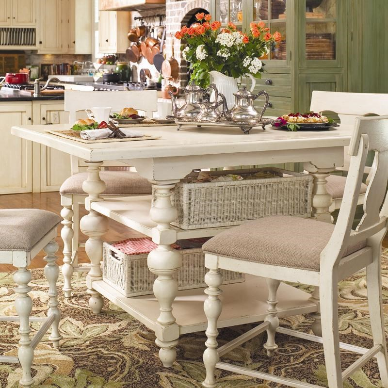 paula deen kitchen model homes pictures pinehurst counter height gathering table with storage baskets by