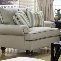 Craftmaster Chair And A Half Replacement Dining Room Cushions Paula Deen By P711700 Traditional Upholstered With Turned Wood Legs