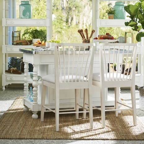 upholstered counter chairs folding chair nathaniel alexander paula deen bluffton cottage kitchen island with windsor by