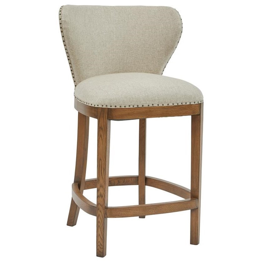 counter height chairs with back folding shower chair pulaski furniture modern authentics ds d192 501 502 deconstructed upholstered barstool exposed wood