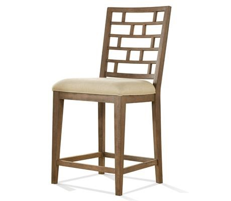 upholstered counter height chair wheelchair youtube riverside furniture mirabelle 26254 stool with lattice back gill brothers bar