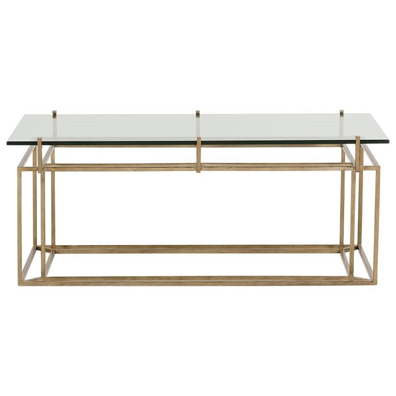 optic tempered glass top rectangular cocktail table with gold finish metal base by rowe at belfort furniture