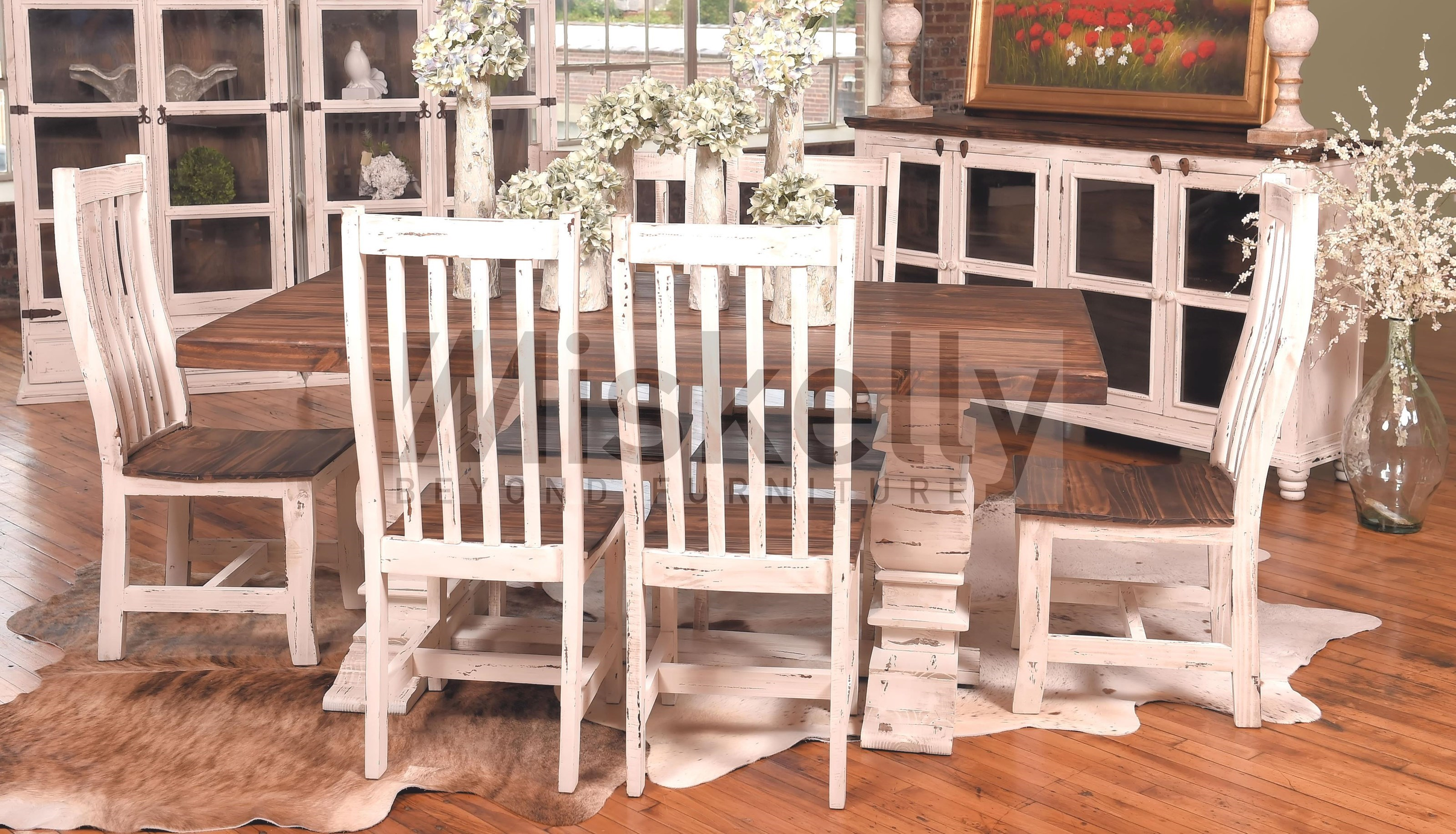 white 6 chair dining table blue striped covers mes2 solid wood and chairs miskelly furniture