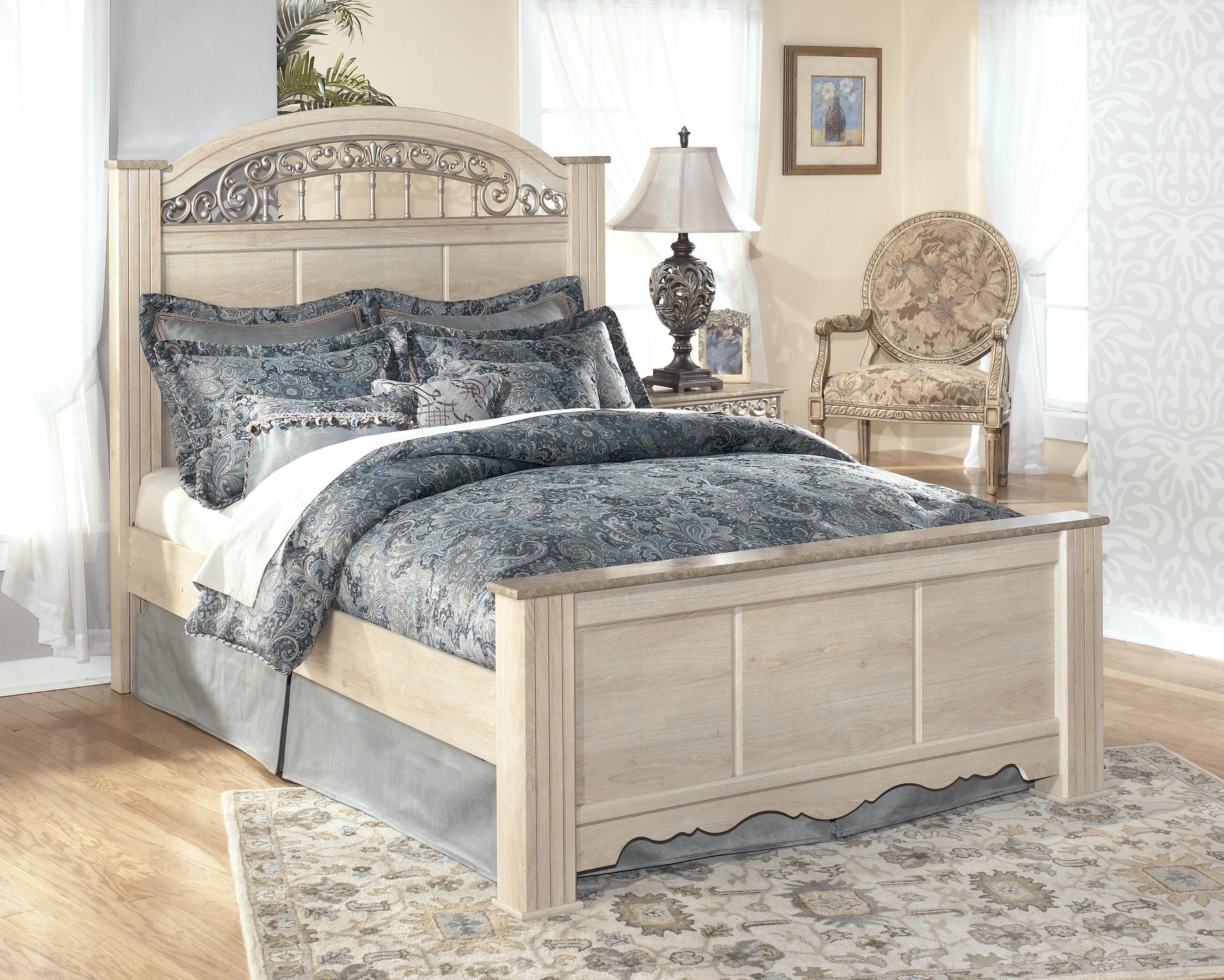 poster bed with ornate headboard insert