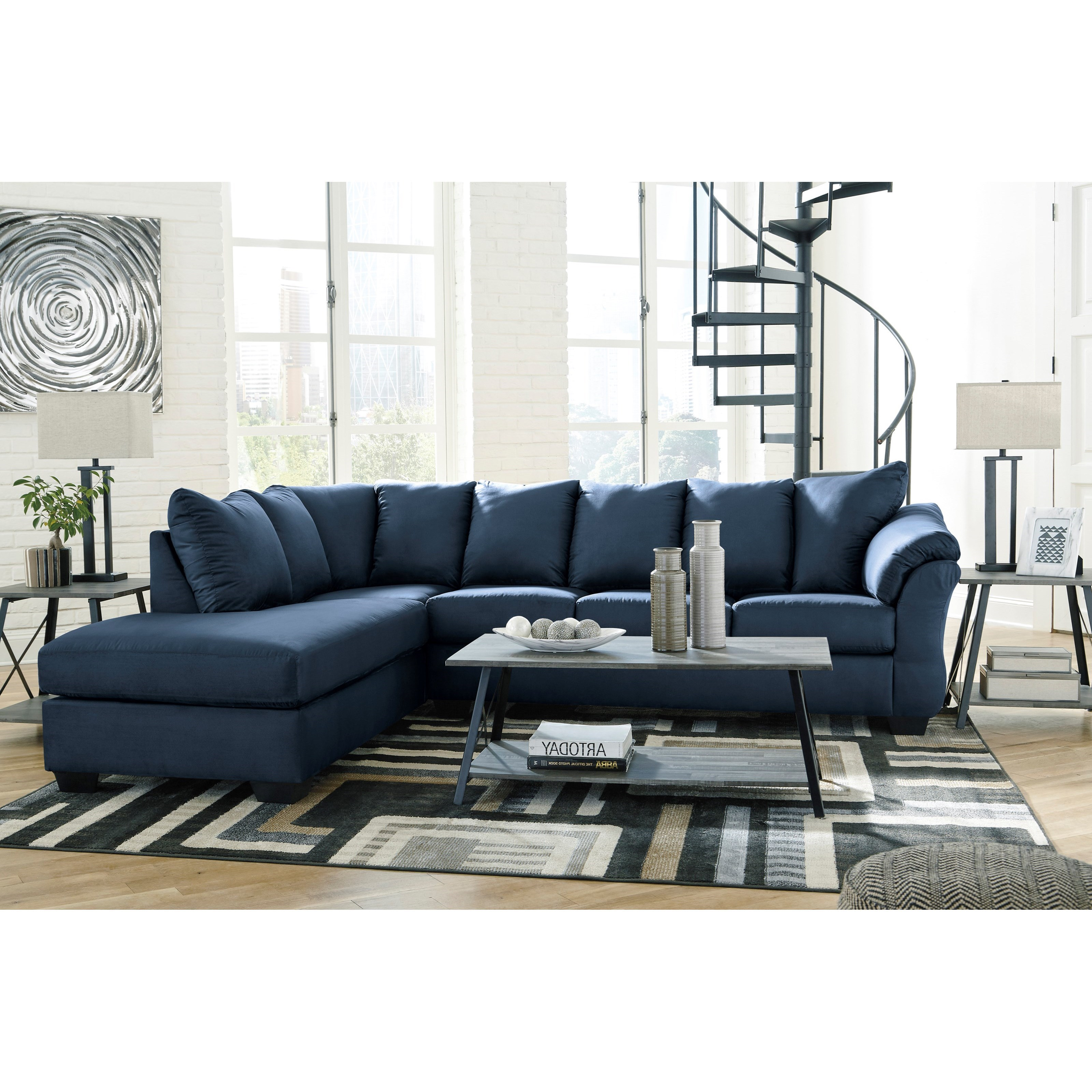 darcy blue 2 piece sectional sofa with chaise