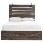 Signature Design By Ashley Drystan Rustic Queen Panel Bed With Industrial Lights Royal Furniture Platform Beds Low Profile Beds