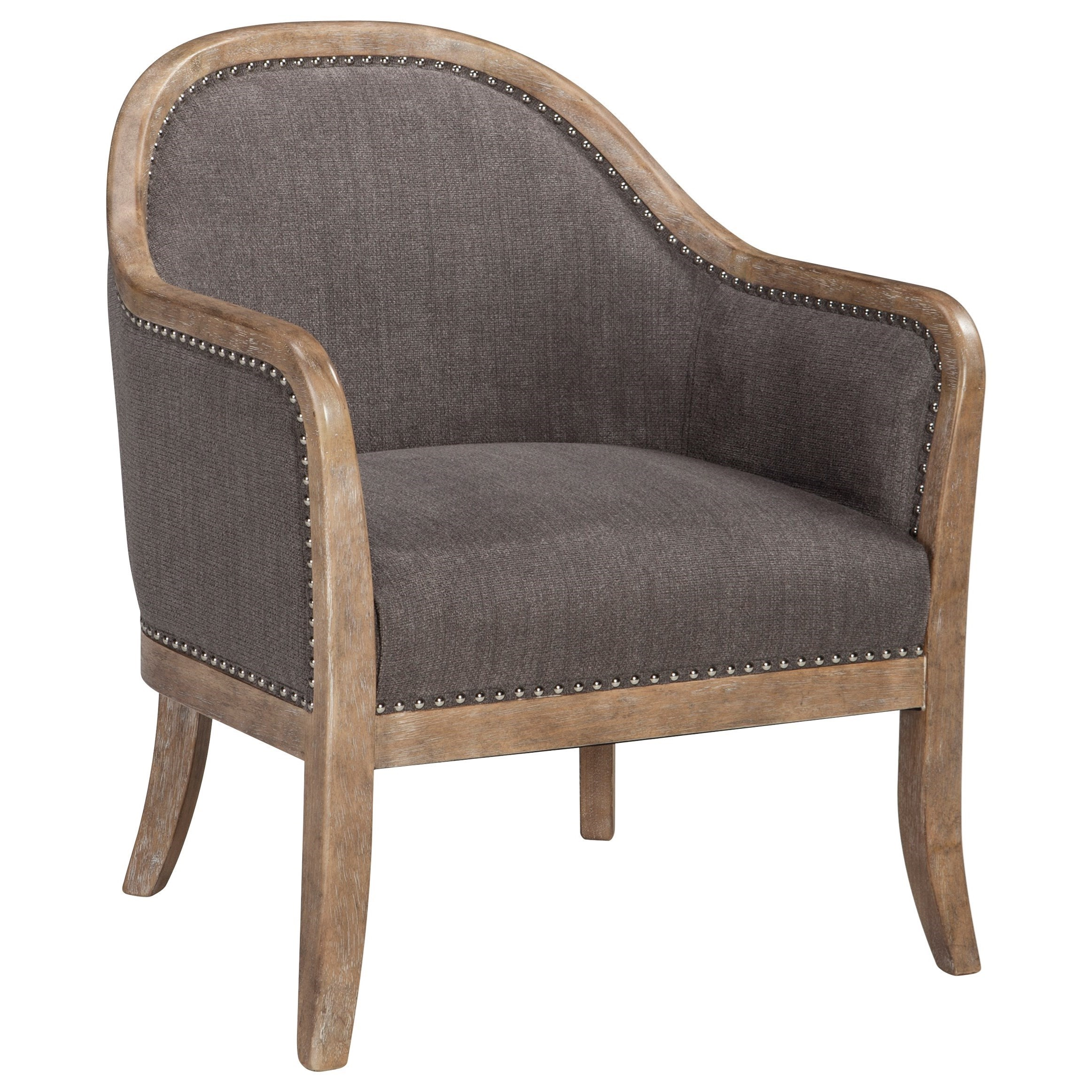 wood frame accent chairs lycra chair covers for sale uk signature design by ashley engineer a3000030 transitional with nailhead trim